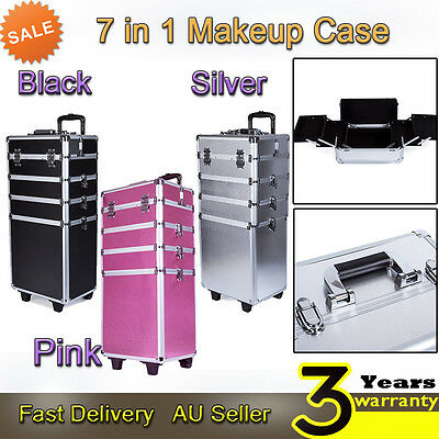 7 in 1 Portable Cosmetics Beauty Case Makeup Box Carry Bag Organiser Trolley Hot