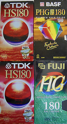 Set of 4 Blank VHS Tapes E180 - Brand New