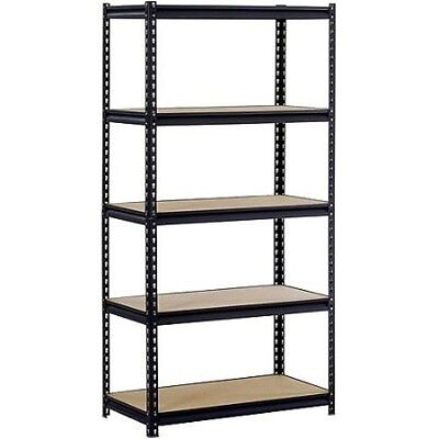 "Edsal 36""W x 18""D x 72""H Five-Shelf Steel Shelving, Black"