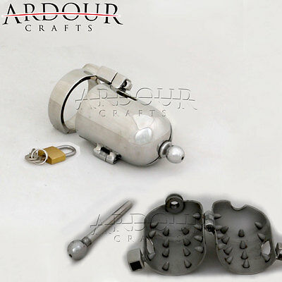Stainless Steel Male Chastity Device Penis Bondage Cage with Spikes Lock Able