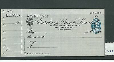 wbc. - CHEQUE - CH738 - UNUSED -1945? - BARCLAYS, MIDDLEWICH  + c/f