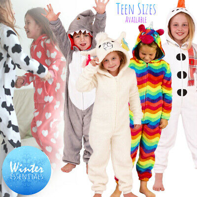 Kids Girls 1Onesie Hooded Fleece All in One Pyjamas Boys Character Childrens