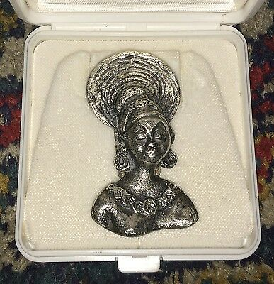 Traditional African Lady Sterling Silver Brooch Ethnic Tribal