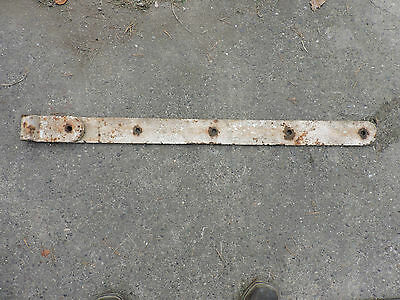 "Antique Large White Blacksmith Barn Door Strap Hinge, 43"" Long"