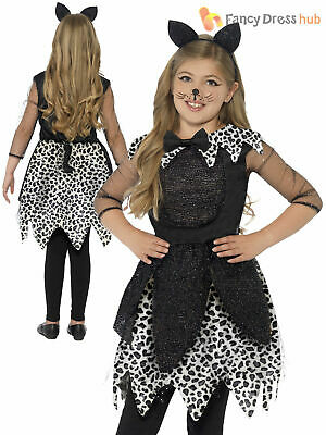 Girls Deluxe  Black Cat Glittery Halloween Costume Kids Child Fancy Dress Outfit