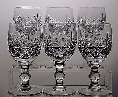 "Royal Doulton Cut Crystal ""newbury"" Pattern Wine Glasses Set Of 6"