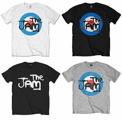 The Jam Official Mens Music T-Shirt Grey White Vintage Bullseye Black Spray Logo