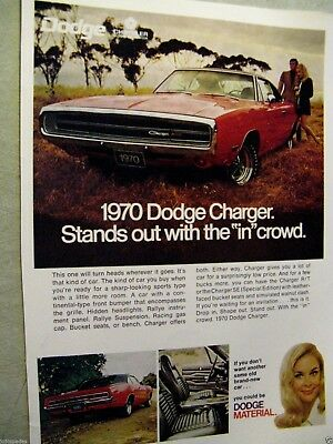 "1970 Dodge Charger-8.5 x 10.5""IN CROWD-Original Print Ad"
