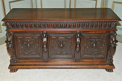 Antique French Trunk Renaissance Trunk Highly Carved Statuary Solid Walnut 19th