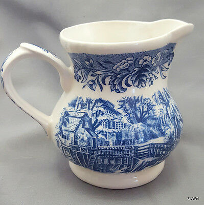 "Churchill Currier and Ives Mill Dam Creamer 3.5""  Blue Transferware"