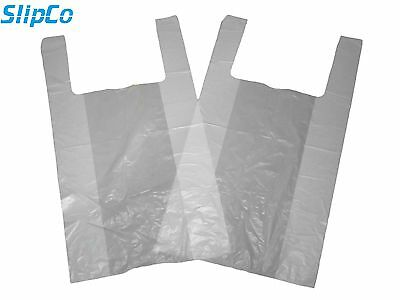 WHITE PLASTIC CARRIER BAGS STRONG VEST SHOPPING SUPERMARKET TAKEAWAY [12x18x24]