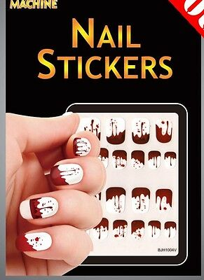 Bloody Halloween Nail Stickers handprints Dripping Blood White Manicure Vampire