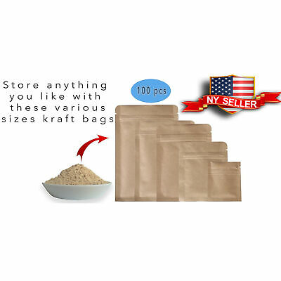 Variety of Sizes for 100 PCS Heavy-Duty Brown Kraft Paper Mylar Zip Lock Bags