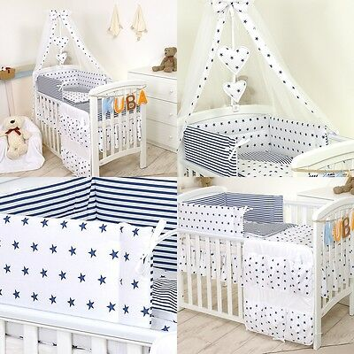 3, 5,9,11 Pcs Bedding Sets for Cot, or Cotbed Baby Boy -  Blue Stars #18