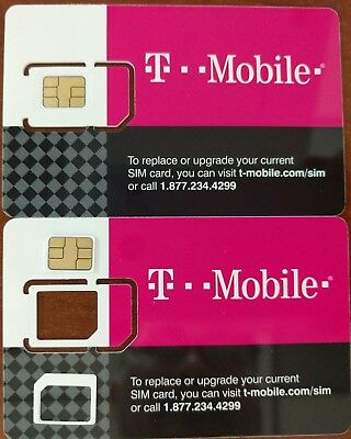 T-MOBILE PRE-ACTIVATED PREPAID Micro SIM CARD NO CONTRACT PAYGO $3/month Plan