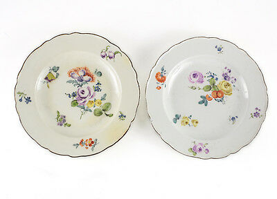 Pair of Meissen Dinner Plates, hand painted florals, scalloped rim. 18th century