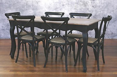 Setting 7 PIECE 160x80 Dining Table Cross Back Chairs French Provincial  Package