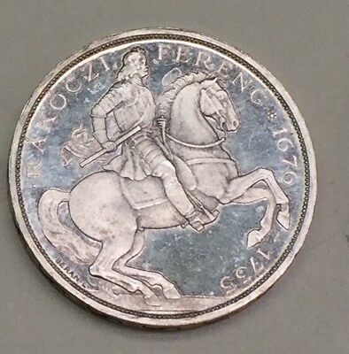Hungary 5 Pengo 1929 UP BP  Silver Restike Hungarian Coin