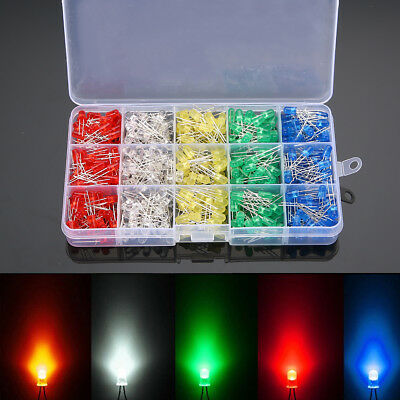 500pcs 5mm White/Yellow/Red/Blue/Green Light Emitting LED Diodes Assortment DIY