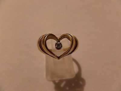 Vintage 14K  Yellow  Gold About Size 6 1/2 Heart Ring  2.26 Grams