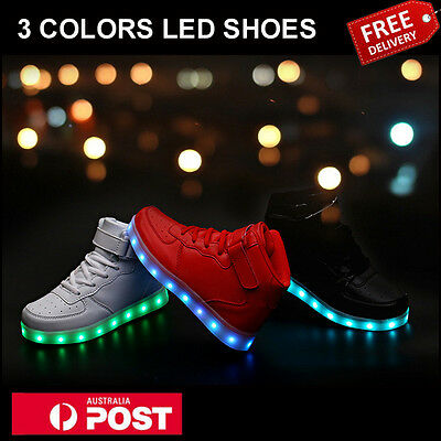Unisex Adult Light Up USB Charging Led Shoes Flashing Sneakers Trainers Shoes AU