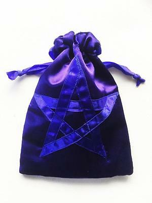 Tarot Card Bag Pouch Blue Pentagram Large Double Lined, Cards, Crystals, Runes