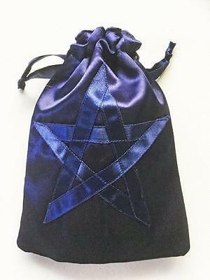Tarot Card Bag Dark Blue Pentagram Large Double Lined, Cards, Crystals, Runes