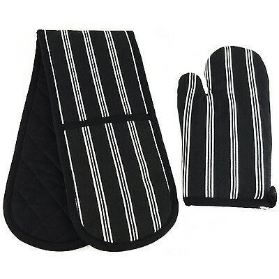 Black and White Stripe Design Kitchen Oven Glove Single Glove Double Glove Set