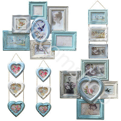Vintage Style Multi Photo Wall Hanging Wood Picture Frames in Shabby Chic Design