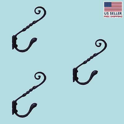 "3 Coat Hook Black Wrought Iron RSF 5 3/4"" H X 4"" Projection 