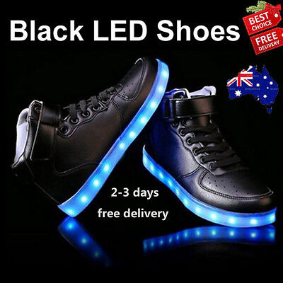 Black Xmas Unisex Adult Light Up USB Charging Led Shoes Flashing Trainers Shoes