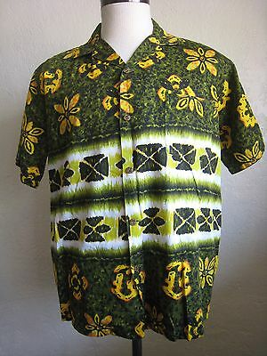 3869fe11 Evelyn Margolis Vintage Hawaiian tribal Floral Gold Metal Buttons Shirt  Size M