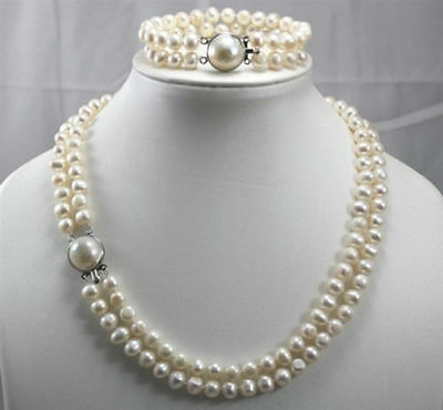 2 Row 7-8MM Freshwater Cultured pearls Necklace Bracelet Set