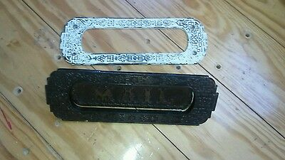 Antique Brass 1800's Victorian Art Nouveau  Mail Slot Mailbox Rare  2 piece • CAD $94.86