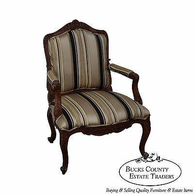 Solid Mahogany French Louis XV Style Arm Chair