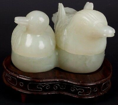 China 20. Jh. Deckeldose -A Chinese Jade Ducks Double Box - Chinois Giada Cinese