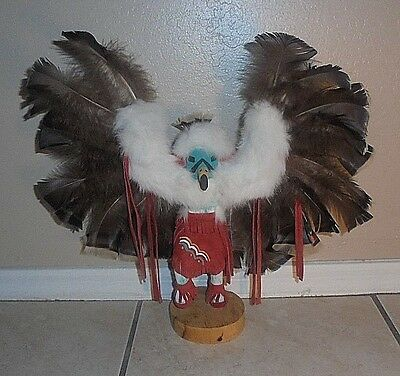 "Navajo Katchina Doll Large 16"" x 18"" Signed Numbered Wooden Hand Carved"