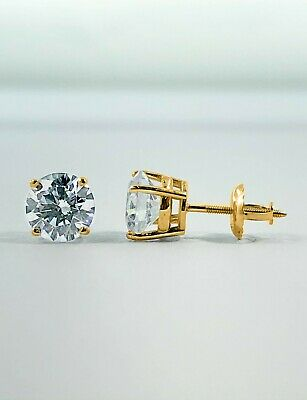 1 Ct Round Earrings Studs Solid 14K Yellow Gold Brilliant Cut Basket Screw Back