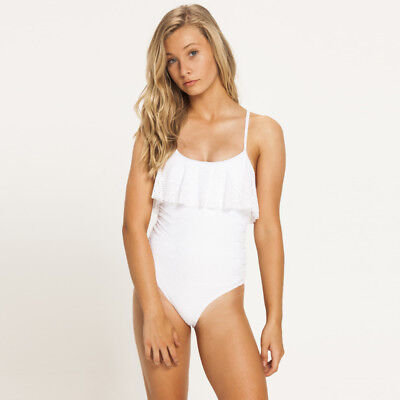 Kaiami Girls Alice Frill One Piece Swimsuit in White