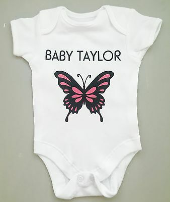 PERSONALISED  baby girl BUTTERFLY clothing vest babygrow great baby shower gift