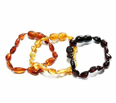 Genuine Baltic Amber Baby Teething Anklet Bracelet Beans 3 Color Variations