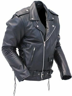 Mens Classic Vintage Real Leather Motorcycle Side Lace Brando Biker Jacket