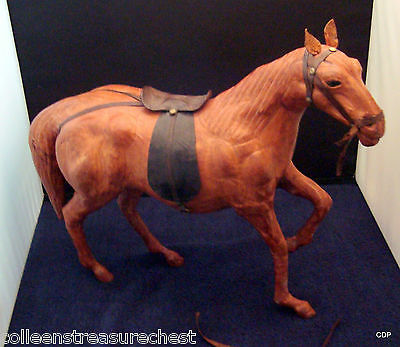 Vintage Leather Wrapped Equestrian Horse Chestnut Saddle and Bridle