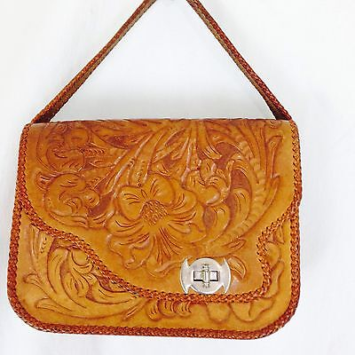 Retro 70's Style Hippie Tooled Leather Bag/Purse