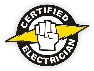 Certified Electrician Hard Hat Decal / Label / Sticker / Electrical Arc Flash
