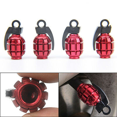 4X New Grenade Design Aluminum Bike Car Motorcycle Tyre Air Valve Dust Caps Red