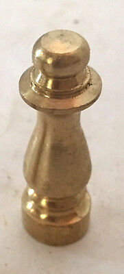 "NEW Unfinished Solid Brass Lamp Shade Finial TOPPER 1-1/2"" Tall, tap 1/4""-27"