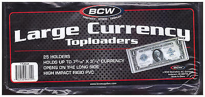 (10) Large Bill Top Load Rigid Currency Holders - BCW NEW - Toploaders LOU1