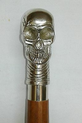 """Alexander Skull"" Cane~Walking Stick~Bronze Brass wooden Vintage Accessories"