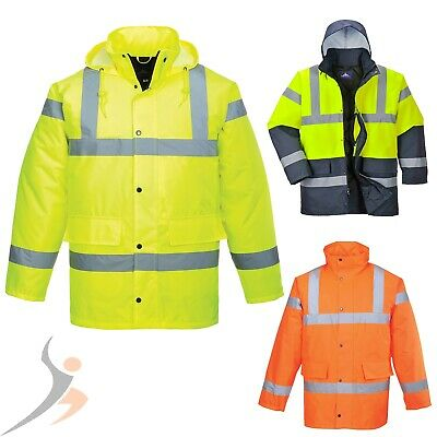 Protection Visibility Jacket Work Portwest Warning Parka Rain Winter